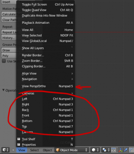 Blender view menu