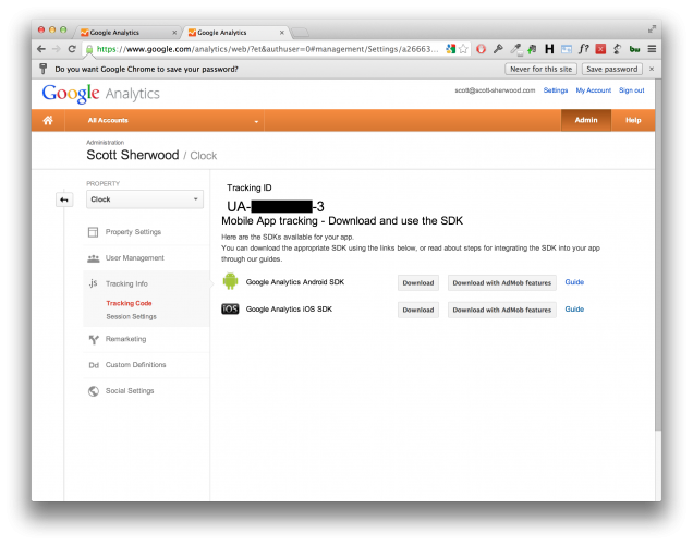 Google Analytics ID & SDK
