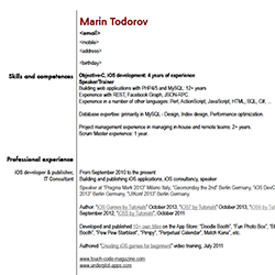 Marin Todorov Curricula Vitae. U201c  Application Developer Resume