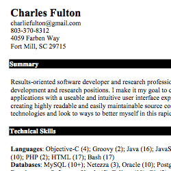 charles fulton resume - Ios Developer Resume
