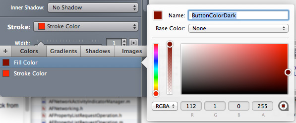rename color in PaintCode