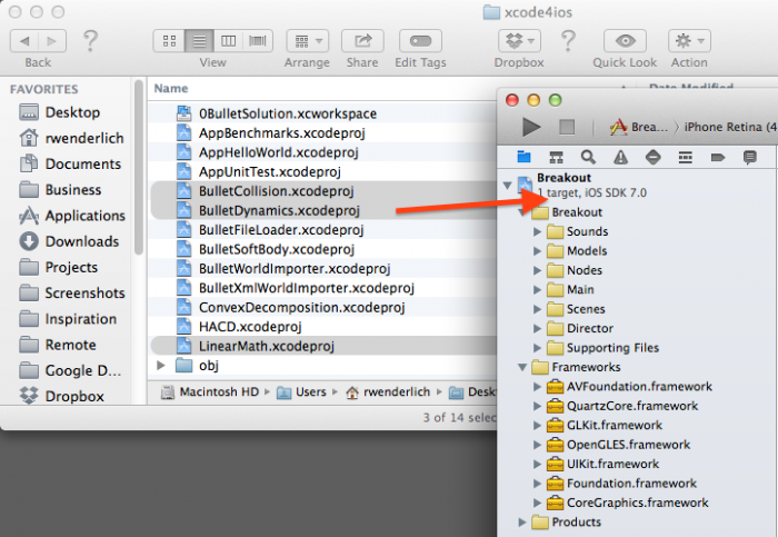 Dragging libraries into Xcode