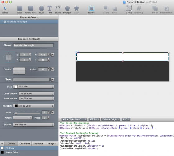 draw a rectangle in PaintCode
