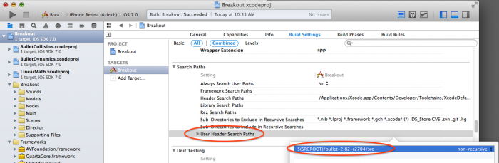 Adding bullet header search path to Xcode project
