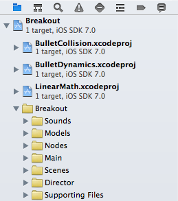 Bullet projects added in Xcode