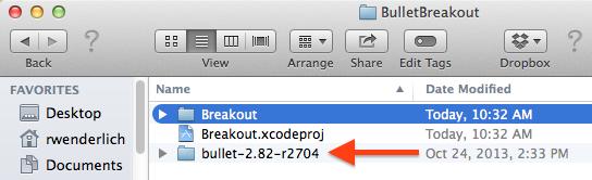 Bullet copying source code to root folder