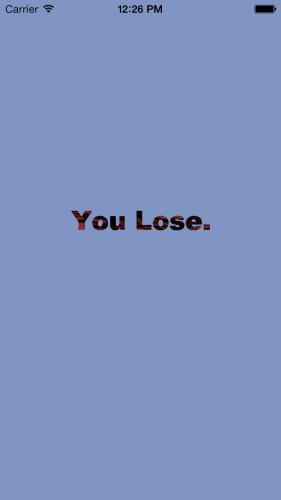 You Lose screen