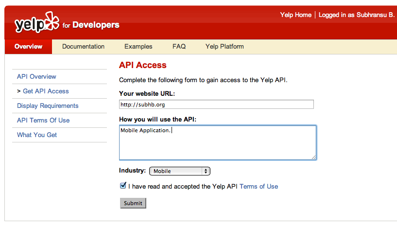 Yelp API Token