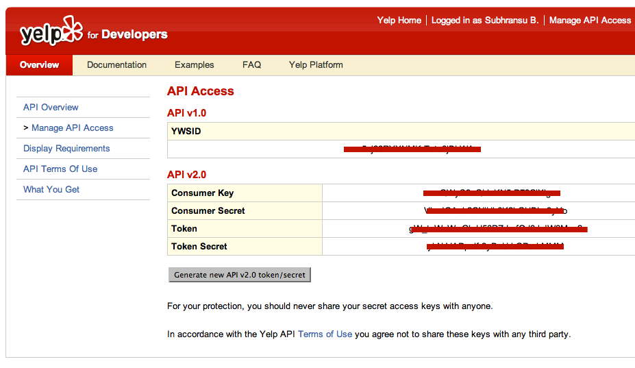 Yelp API Token Secret