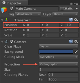 camera settings in Inspector