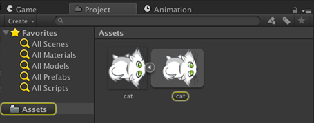 cat sprite highlighted in Project browser