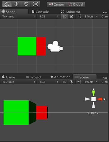 Comparison of Scene view in 2D and 3D modes