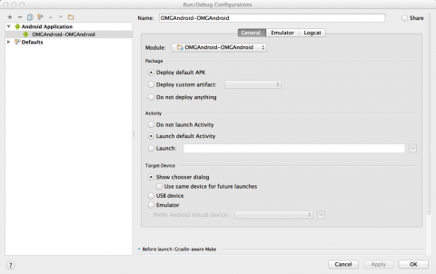 Android Edit Configurations dialog