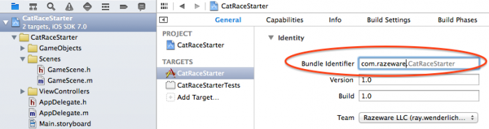 Changing bundle identifier