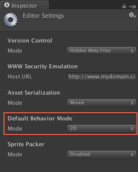 Default Behavior Mode highlighted in editor