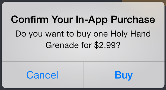 Holy Hand Grenade In-App Purchase