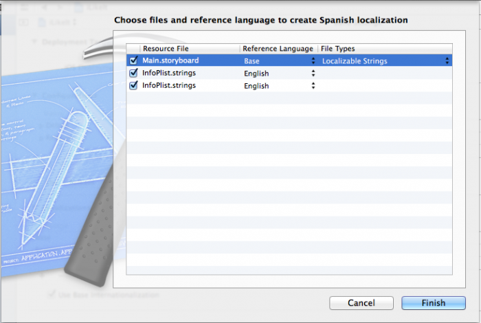 Select files to localize