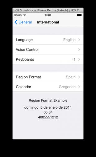 Spanish region format