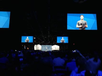 Mark Zuckerberg presenting during the keynote.