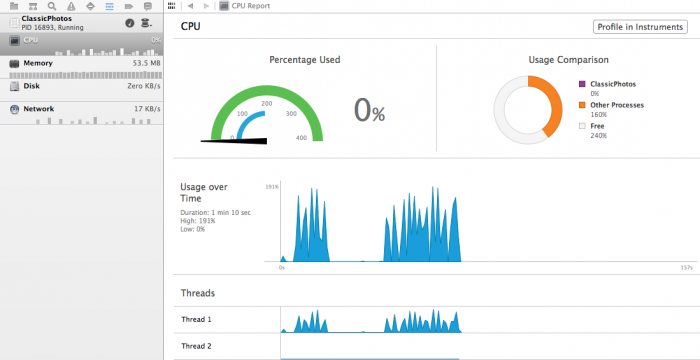 Xcode's Gauges view, showing heavy lifting on the main thread