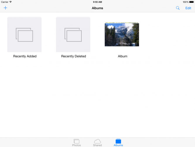 iOS Photos app in album view