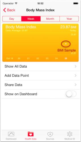 BMI Sample in Health App