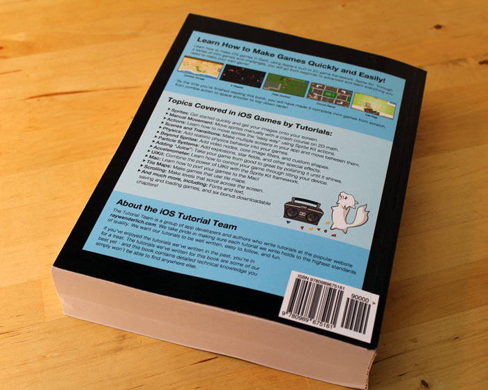 Back cover of iOS Games by Tutorials Second Edition.