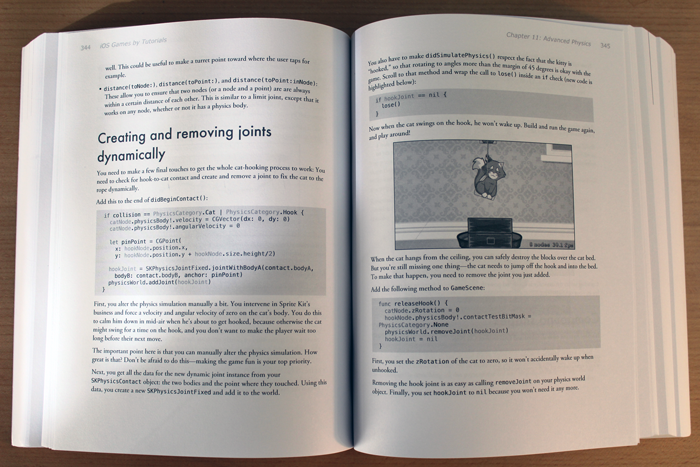 Inside view of iOS Games by Tutorials Second Edition book.
