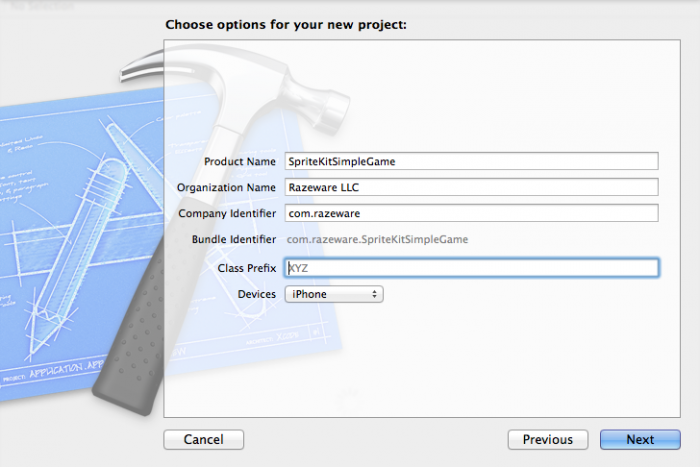 Setting project options for the Sprite Kit project