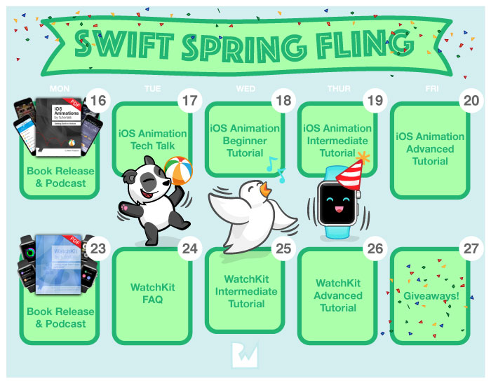 Calendar for the Swift Spring Fling