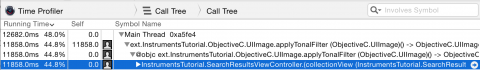 Selected Row In Call Tree