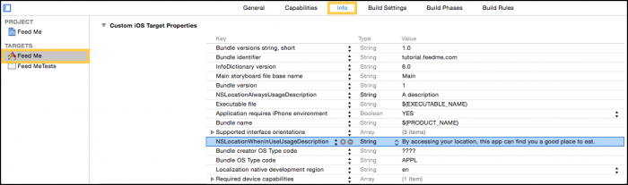 Custom iOS Target Properties