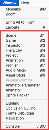 The Window option from the menubar provides a list of views that you can use.