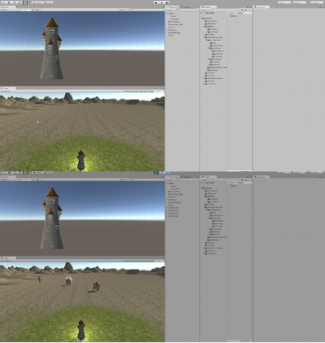 The top image is the editor while making the game whereas the lower image is the game being played.