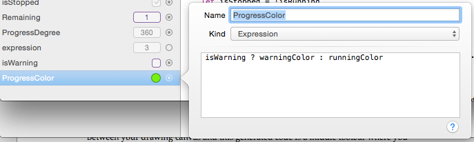 Example of expression that sets a different color based on a variable.