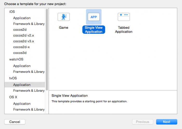 Selecting the tvOS template in Xcode