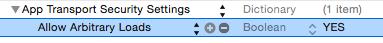Setting app transport security settings in Info.plist