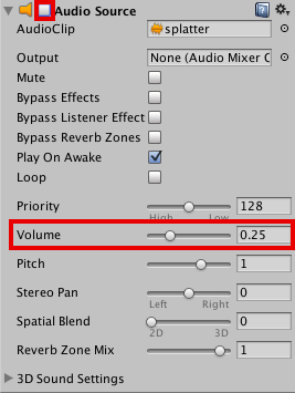 Audio Source Component Settings
