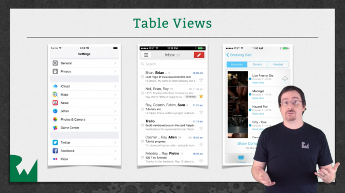 Table views video tutorial
