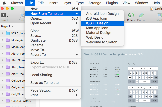 Creating a new iOS UI Design template in Sketch