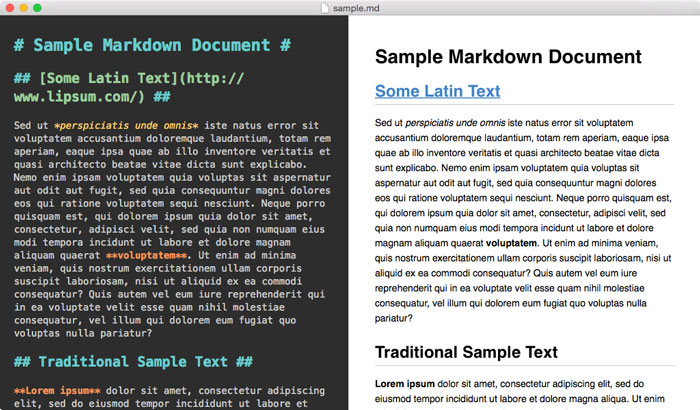 Editing Sample Markdown in MacDown.