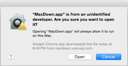 MacDown Unidentified Warning