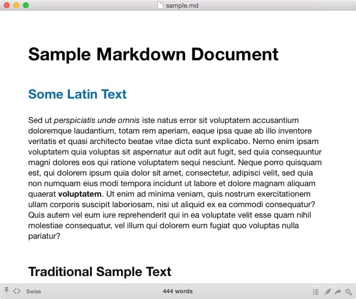 Viewing Sample Markdown Document in Marked