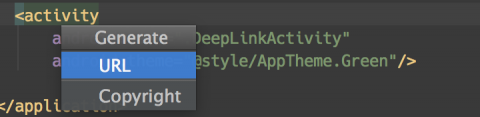 Add a Deep Link Intent Filter: Context Menu