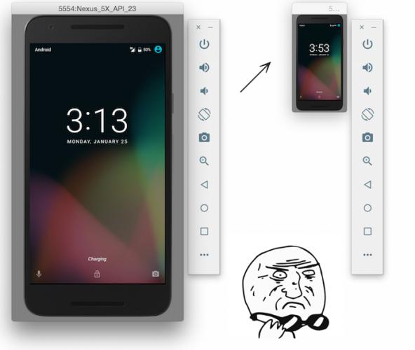 Android Emulator 2.0: Resizing