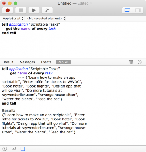 Making a mac app scriptable tutorial: AppleScript Tasks