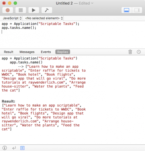 Making a mac app scriptable tutorial: JavaScript Tasks