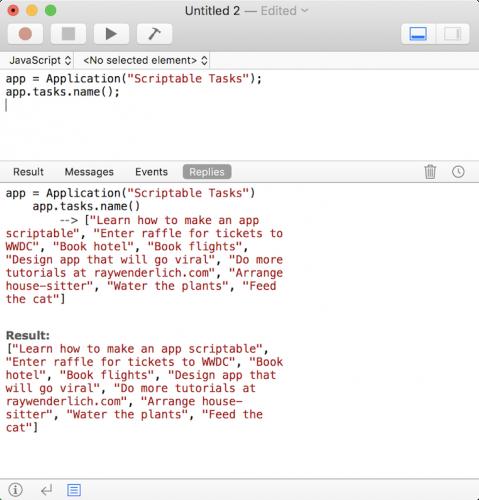 Making a mac app scriptable tutorial: JavaScript Tasks
