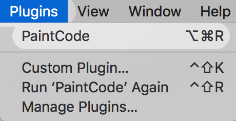 Select PaintCode from the plugin menu