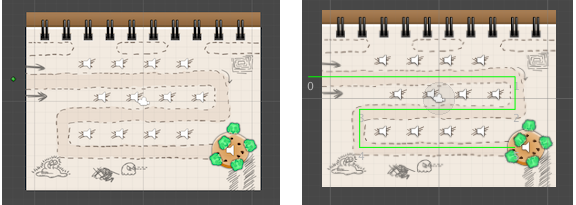 Before: Without - After: A line between the spots shows how enemies will move